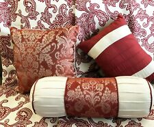 2 Curtain Panels  with 3 Matching Pillows Burgundy Maroon