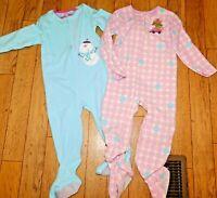Carter's Toddler Girls Ballerina Winter Pajamas Sz 4T & 5T Kids Child Monkeys