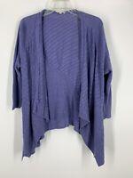 Eileen Fisher Periwinkle/Purple Knit Open-Front Sweater Cardigan Size M Linen