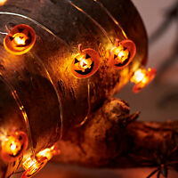 20 Micro LED Battery Operated Pumpkin Halloween Indoor Silver Wire String Lights