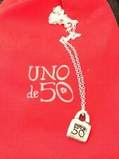 Uno De 50 Cincuenta Lock Pendant on Sterling silver chain necklace with red bag
