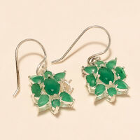 Natural Zambian Emerald Earrings 925 Sterling Silver Christmas Fine Jewelry Gift
