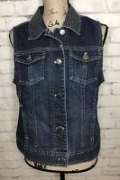 Chicos Platinum Womens Denim Vest Sz 1 Button Front Pockets Blue Rodeo Western