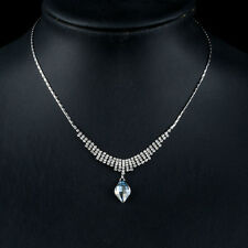 New White Gold Plated Silver Blue Wedding Necklace Made With Swarovski Crystals