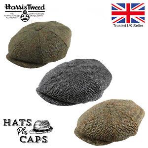 Harris Tweed Newsboy Flat Cap Peaky Blinders Hat 100% British Wool Carloway