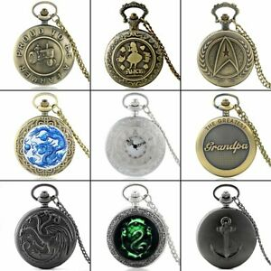 Steampunk Retro Quartz Pocket Watch Chain Vintage Pendant Antique Necklace Gift