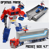 "Kids Toy Pocket Size Robot HS 02 Optimus Prime 4.7 "" Action Figure Truck Trailer"