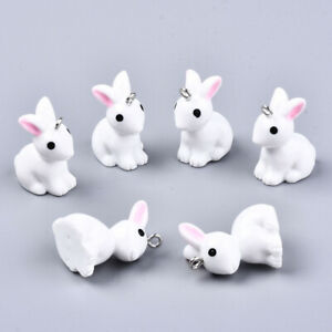 10 White RESIN rabbit bunny charms pendants pink ears 23mm x 13mm