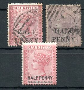 MAURITIUS , 1876 , three better CLASSIC STAMPS , MH / USED