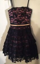 Vintage Betsey Johnson Black Lace Tiered Ruffles Pink Underdress Party Formal XS