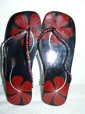 "Women's Black & Red Hibiscus Floral Design Sandals Flip Flops L 9""-10"""