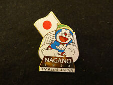 1998 NAGANO OLYMPIC MEDIA PIN BADGE JAPANESE TV ASAHI DORAEMON DAMAGE PINS