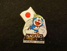 1998 NAGANO OLYMPIC MEDIA PIN BADGE JAPANESE TV ASAHI DORAEMON DAMAGE PINS