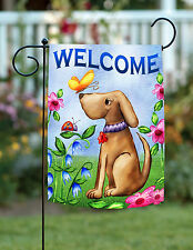Toland Welcome Dog 12.5 x 18 Spring Puppy Butterfly Double Sided Garden Flag