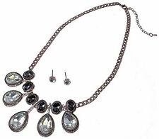 Rose Gold Crystal Necklace Earrings Black Diamond Clear Glass Curb Chain