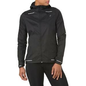 Asics Womens Lite-Show Running Jacket Top Black Sports Full Zip Windproof