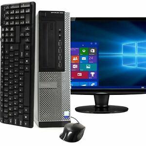 """Dell i5 Quad Core 16GB 2TB 480SSD 22"""" 24""""LCD WiFi Windows 10 Desktop Computer PC"""