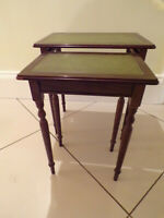 NEST OF TWO MAHOGANY WITH GREEN LEATHER TOP  SIDE TABLES