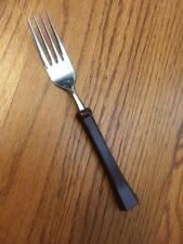 Oxford Hall Stainless Brown Melamine PERFECTIONWARE WALNUT Dinner Fork 7 5/8""