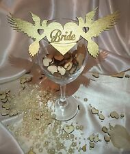 Personalised wooden wedding name place cards; pigeons; anniversary. Set x 5.
