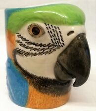 More details for quail ceramic macaw pencil pot, desk tidy or vase - tropical jungle bird parrot