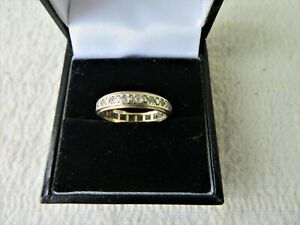 ANTIQUE / VINTAGE 9CT YELLOW GOLD WHITE STONE ETERNITY RING SIZE K 3/4 1.61gs