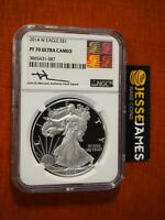 2014 W PROOF SILVER EAGLE NGC PF70 ULTRA CAMEO MERCANTI SIGNED REAGAN ART LABEL