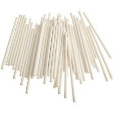 100Pcs White Paper Pop Cake Sticks/ Lollipop Sticks - 8 inches 20cm