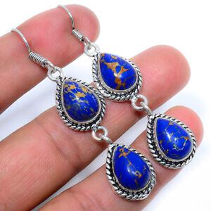 Copper Lapis Lazuli Handmade 925 Sterling Silver Jewelry Earring  VIE-952