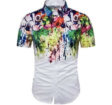 Mens Hipster Printed Casual Slim fit Short Sleeve Casual Button Down Shirt SizeM
