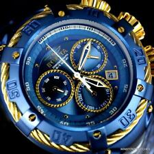 Invicta Thunderbolt Blue Stainless Steel Gold Tone Chronograph 52mm Watch New