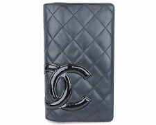AUTHENTIC CHANEL CAMBON QUILTED LEATHER CC BILL COIN CARD LONG CLUTCH WALLET