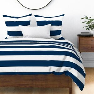 Wide Navy And White Stripe Nautical Blue Stripes Sateen Duvet Cover by Roostery