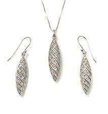 Sterling Silver Pendant Necklace & Earrings Set