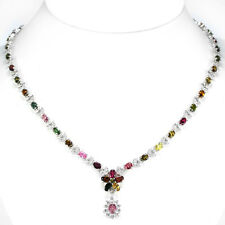 Sterling Silver 925 Genuine Natural Tourmaline & Lab Diamond Necklace 18 Inch