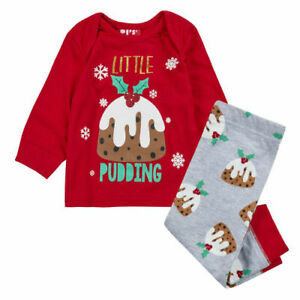 Baby Christmas pyjama set 'Little Pudding' Xmas Festive PJ'S nightwear sleepwear