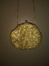Vintage Evening Bag Gold Tone Beads Clasp Detail Purse