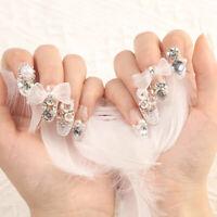 24Pcs Diamond Glitter Carved Long Fake Nail Full Cover Nail Art False NEAS