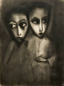 """Beautiful Large ROBERT DICKERSON Charcoal """"Two Children"""" c.1960's"""