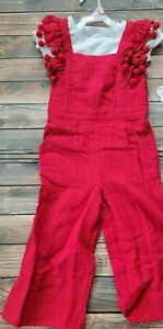 New with a tag 2 peices Girls Red Jumpsuit and white shirt Size 10/12