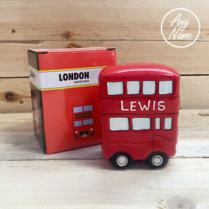 Personalised london bus money box Personalised free with any name