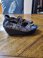 Women's Shoes Bernie Mev. Halle Woven Open Toe Casual Wedges Navy Camo, New, 40