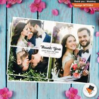 3 Photo picture WEDDING Thank You postcards Personalised Fast Post 50 100 200