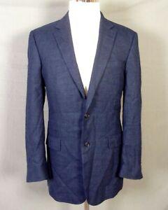 euc Jos. A. Bank Navy Blue Hopsack 100% Wool Blazer Sportcoat Dual Vents 42 L