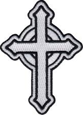 43067 White Celtic Cross Christian Faith Religious Religion Irish Iron On Patch