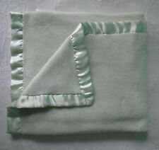 Vtg Northpoint Baby Blanket Plush Satin Trim Luxe Mint Green 30x36 in.
