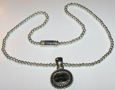 Magnetic Bead Ball chain necklace Smokey faceted rhinestone detachable pendant