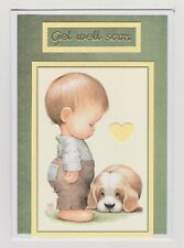 Blank Handmade Greeting Card ~ GET WELL SOON with LITTLE BOY AND PUPPY