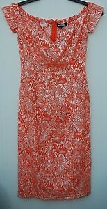 Misguided Missguided Orange Skater Dress UK6 Stretch 100% Polyester