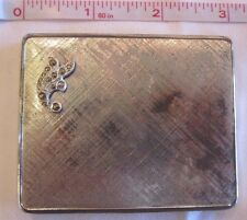 VINTAGE 1940's Ladies etched Silver COMPACT Rectangular with Marcasite design *